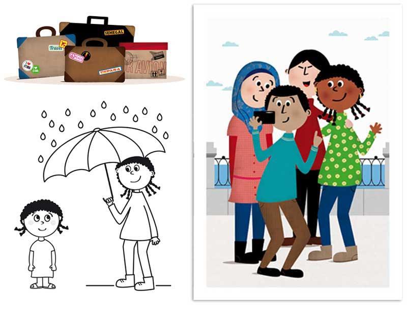 Hoja de actividades e ilustraciones interiores. Cuento de Dieneba: de Senegal a Vitoria