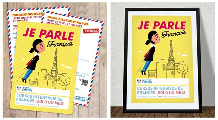 Cartel y postales de cursos intensivos de francés