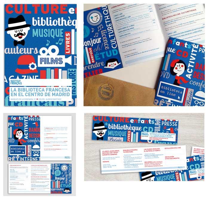 Portada e interior de folleto. Anverso y reverso de marcapáginas.