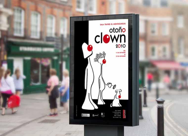 Demo de poster Otoño clown en la calle