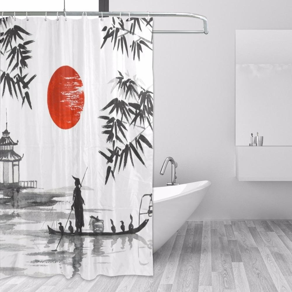 2019 100% polyester fabric shower curtain japanese painting man with within Fabric Shower Curtains