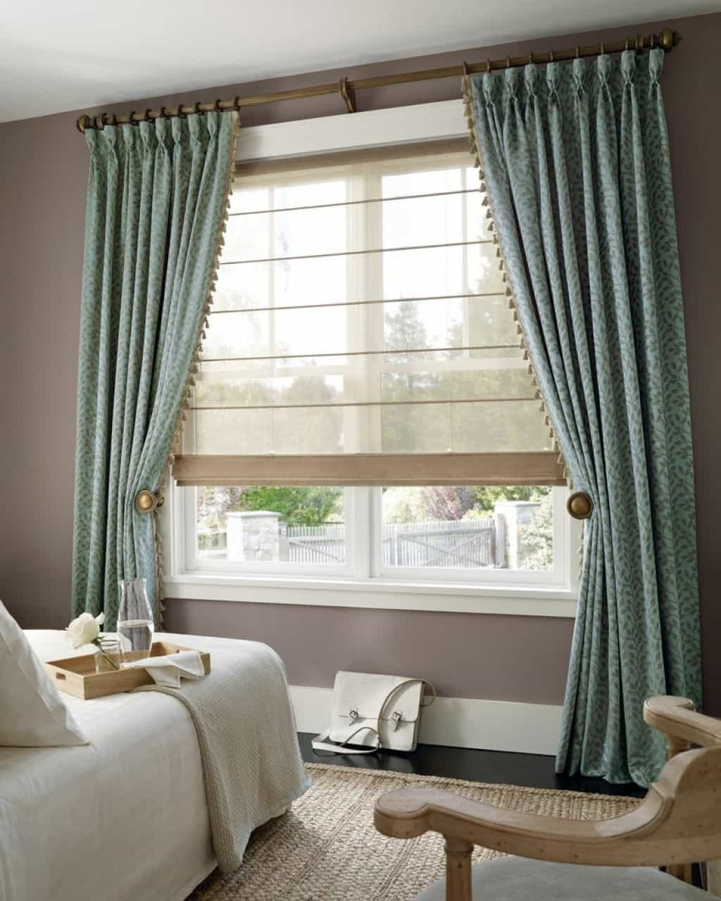 bedroom using transparent roman shades with curtains - using roman with regard to Perfect Curtain For Your Home