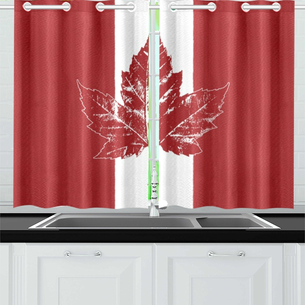 cool canada flag curtains retro red kitchen curtain 26'' x 39''(2 pieces, 1  design) | id: d3427589 for Red Kitchen Curtains