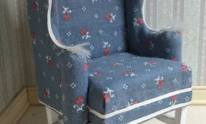 country style wing back chair upholstered on a one inch scale   etsy with regard to Country Upholstered Club Chair