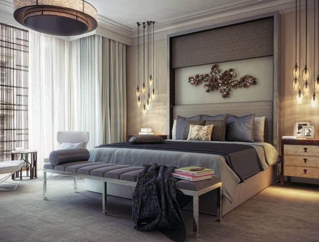 Modern Master Bedroom Illuminated With Modern Chandelier And pertaining to Modern Bedroom With Lighting - modern bedroom with lighting