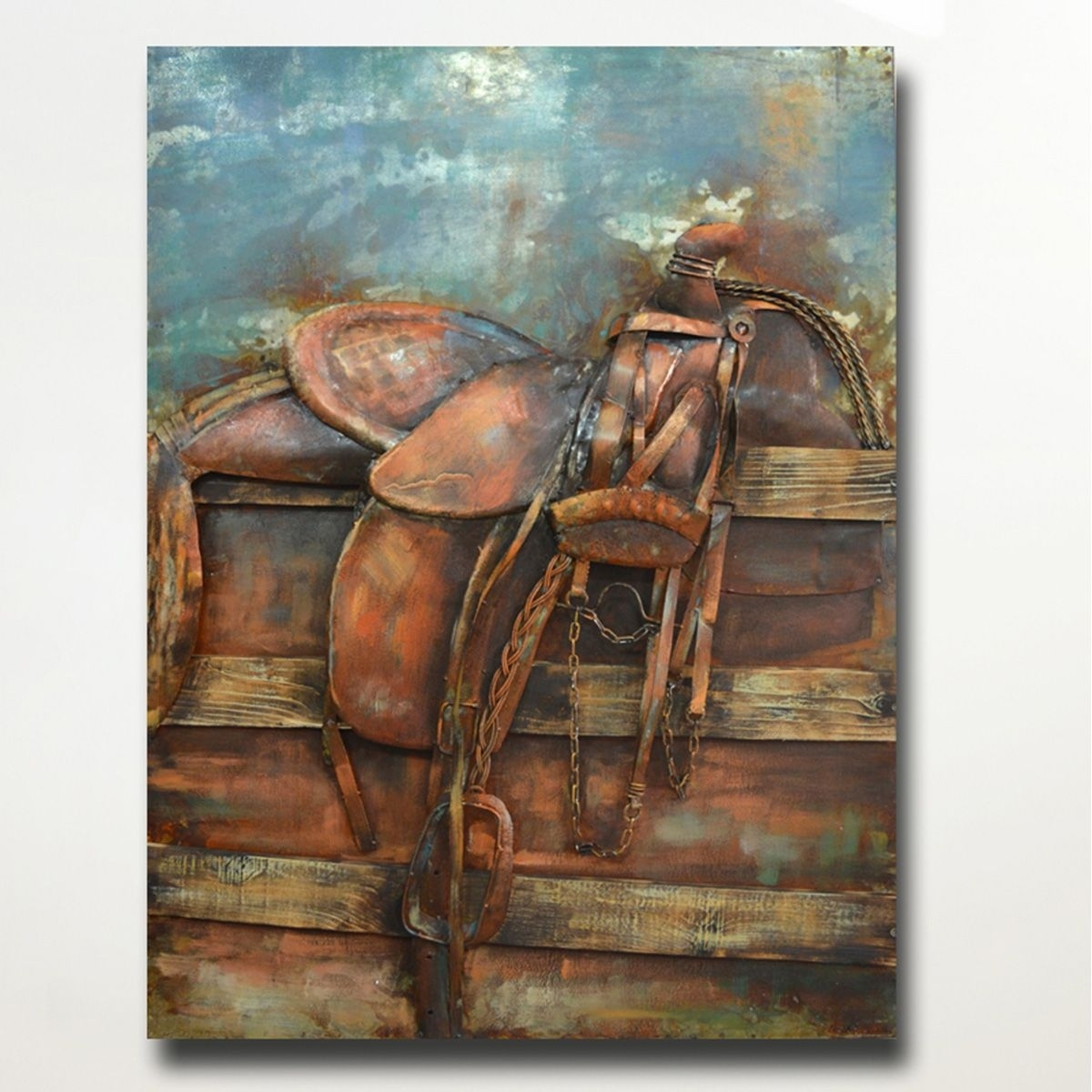 rustic metal wall art: country saddle stand metal wall art throughout Country Wall Art