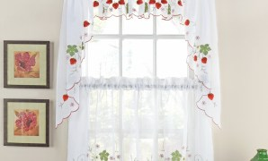 strawberries kitchen curtain set - sheer curtain sets with Beautiful Kitchen Curtains