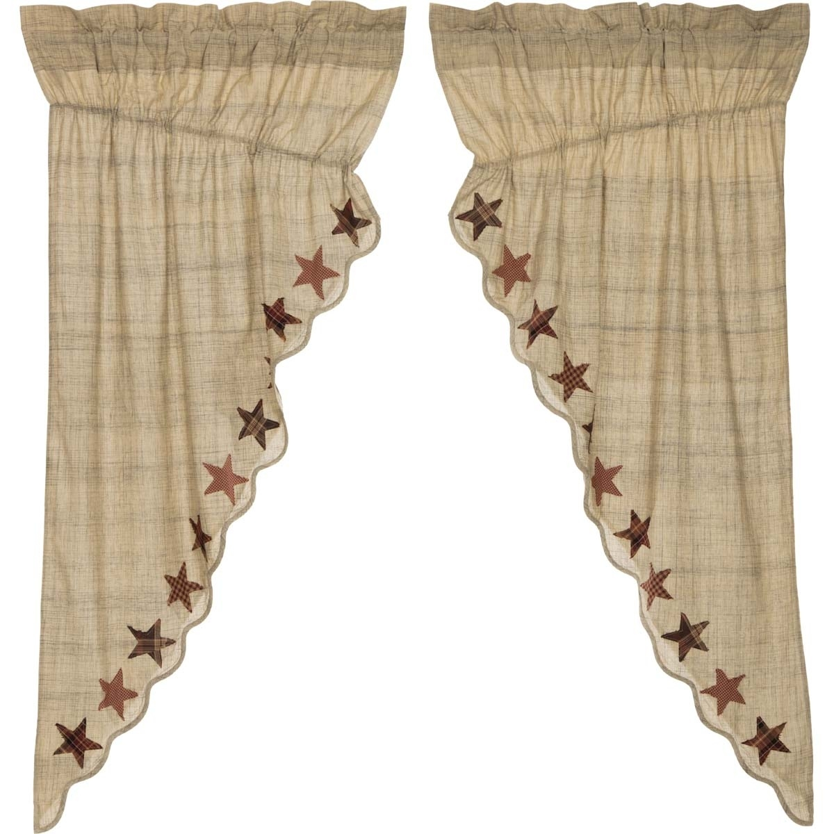 tan classic country curtains country star rod pocket cotton with regard to Country Curtains
