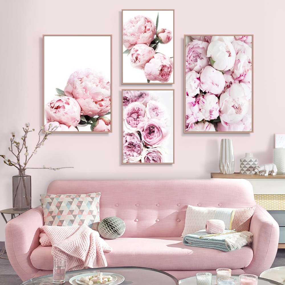 peony print floral botanical wall art pastel pink flowers poster canvas  painting living room home decor with Pink Home Decor