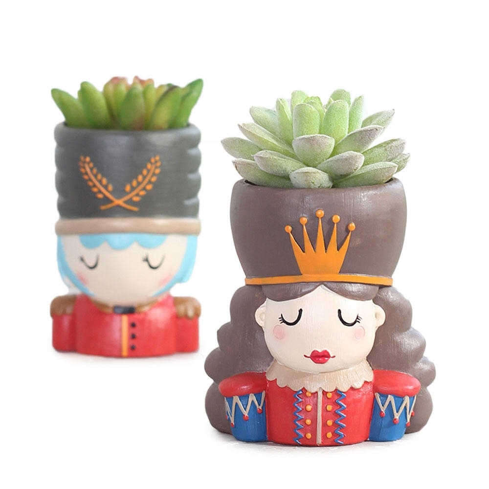roogo zakka walnut fairy tale resin flower pot nutcracker succulent plant  pots garden decor planter home decoration accessorie with regard to Garden Vases Shaped Dolls