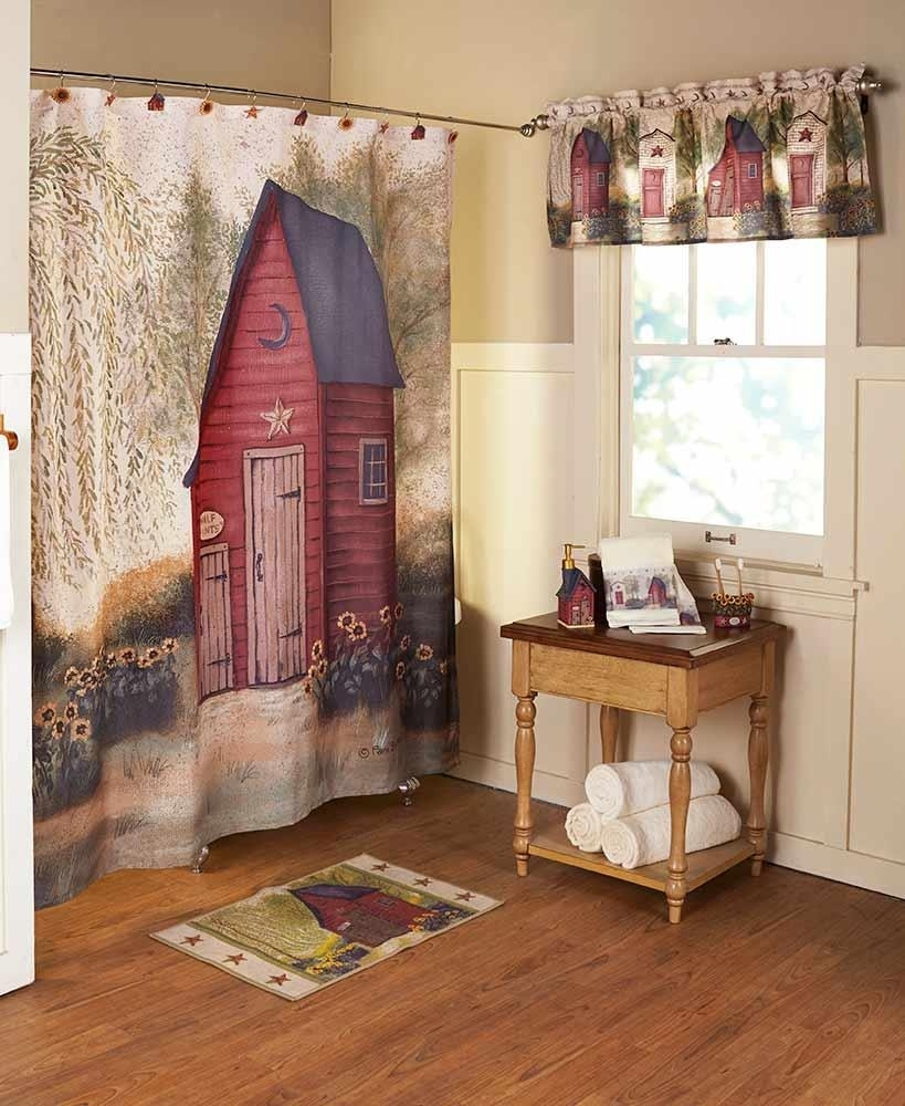 rustic country primitive outhouse bathroom decor collection throughout Primitive Curtains Decor