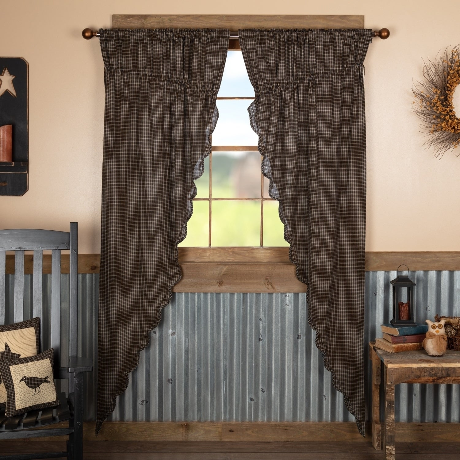 shop black primitive curtains vhc kettle grove plaid prairie panel throughout Primitive Curtains Decor