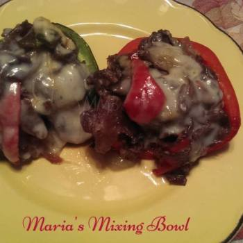 Philly Cheesesteak Stuffed Peppers ~ Low Carb
