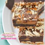 CARAMEL FILLED PEANUT BUTTER SWIRL BROWNIES WITH PRETZEL CRUST