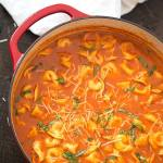 ONE POT TOMATO AND BASIL TORTELLINI SOUP