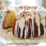 COCONUT CREAM POUND CAKE WITH VANILLA CREAM GLAZE