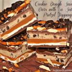 COOKIE COUGH SNICKERS BARS WITH SALTED PRETZEL TOPPING