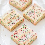 HOLIDAY SUGAR COOKIES BARS WITH CREAM CHEESE FROSTING