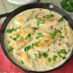 CHICKEN AND MUSHROOMS WITH ROASTED RED PEPPER ALFREDO SAUCE