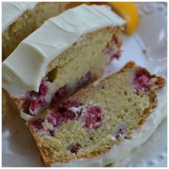 Raspberry Lemon Bread with Lemon Cream Cheese Frosting