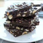 Rich Chocolate Bark with Peanuts Cashews and Flaxseeds