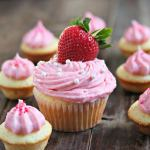 Vanilla Cupcakes with Strawberry Buttercream Frosting