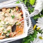 Cheesy Turkey Tomato and Zucchini Casserole
