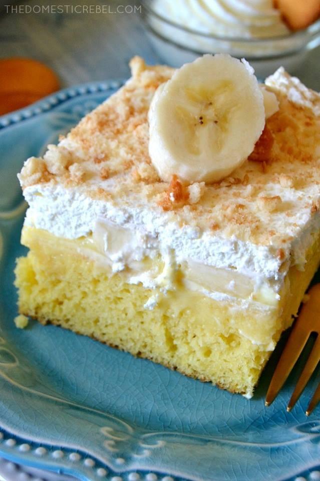 Banana Pudding Poke Cake With Nilla Wafers