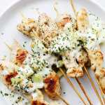 Chicken Skewers with Cucumber-Garlic Yogurt Sauce