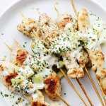 Chicken Skewers with Cucumber-Garlic Yogurt Sauce