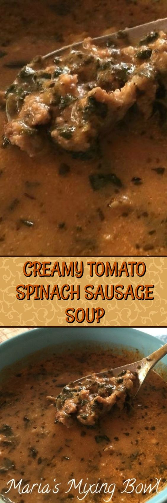 Creamy Tomato spinach Sausage Soup is a a creamy soup recipe full of.  Just a few  ingredients and you have a delicious comforting soup !