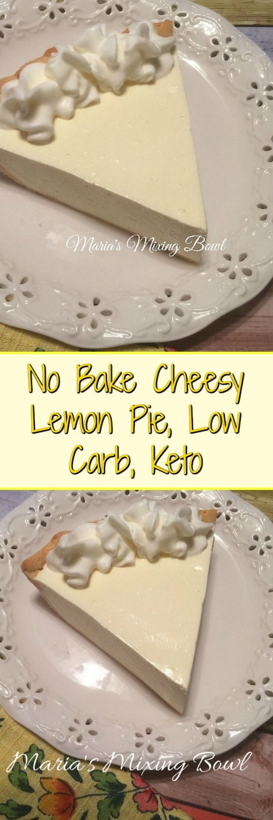 No Bake Cheesy Lemon Pie - sweet and lemony and so easy to make and really delicious. Even the non low carbers love this pie