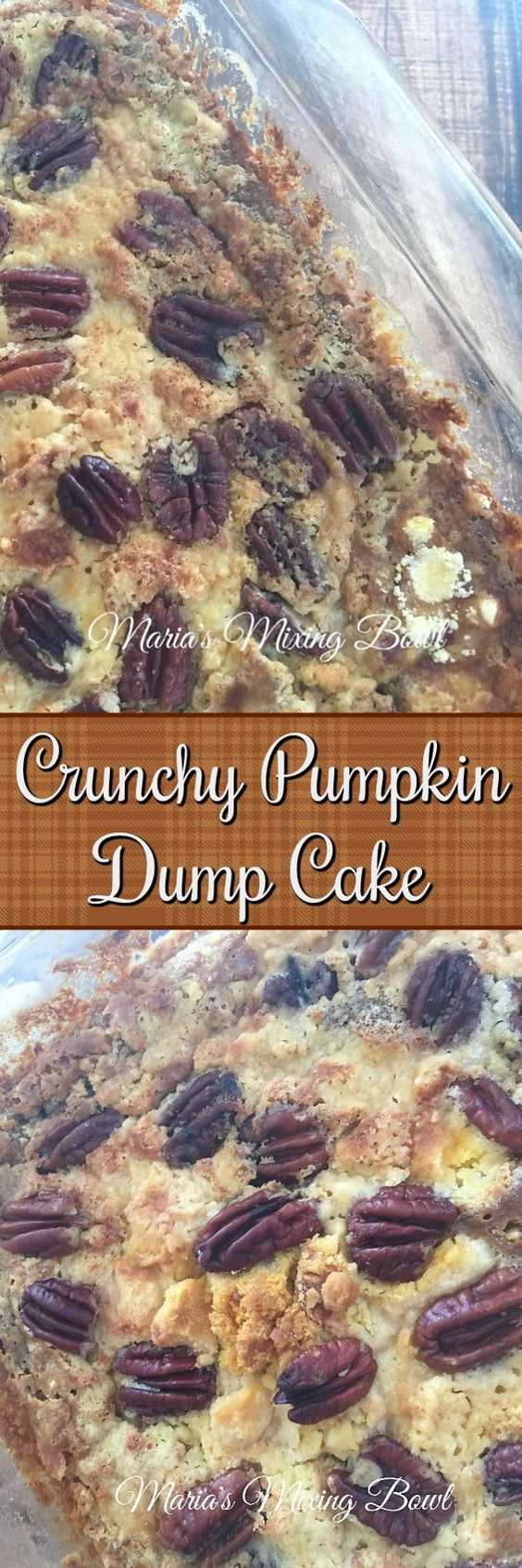 CRUNCHY PUMPKIN DUMP CAKE - makes the perfect pumpkin fall dessert. Once you try it, you'll make it again and again!