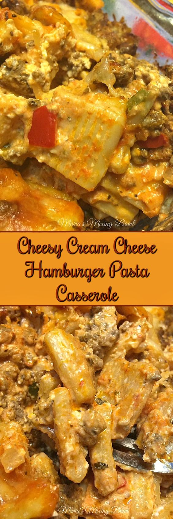 Cheesy Cream Cheese Hamburger Pasta Casserole - is a delicious comfort food casserole. My family has been making this ooey gooey cheesy casserole for years.