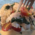 Chicken, Spinach and Tomato in Creamy Asiago Cheese Sauce