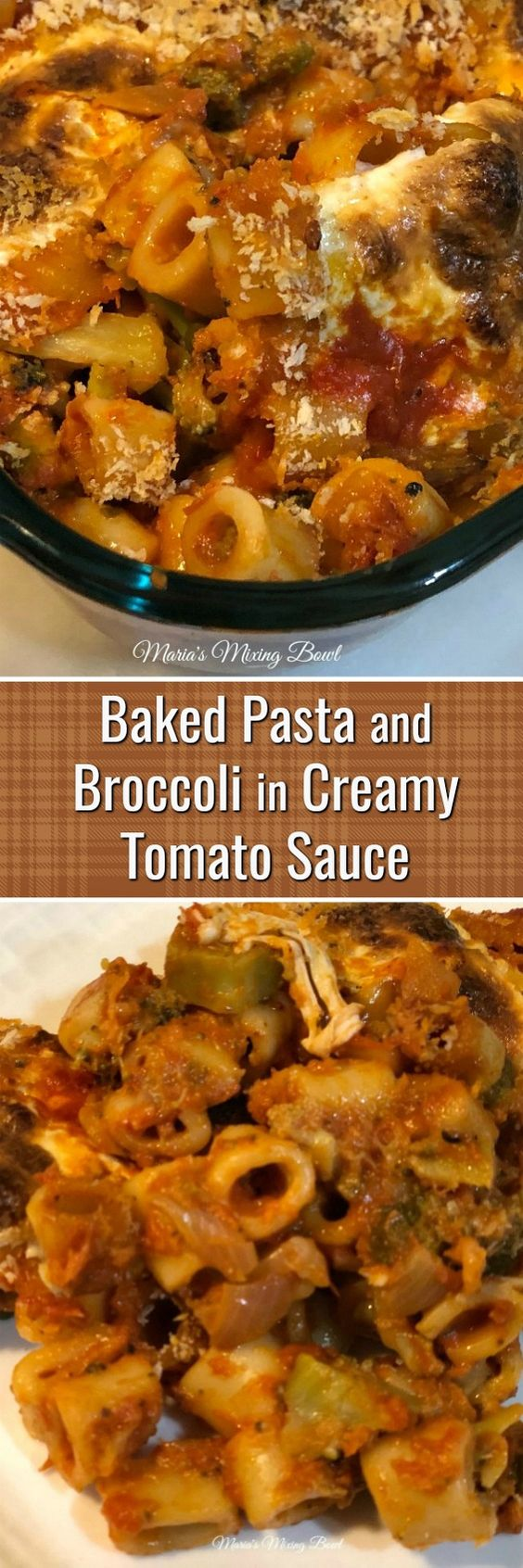 Baked Pasta and Broccoli in Creamy Tomato Sauce - A rich creamy tomato sauce , al dente pasta, broccoli and fresh mozzarella cheese bring this easy dish together for a perfect weeknight meal.