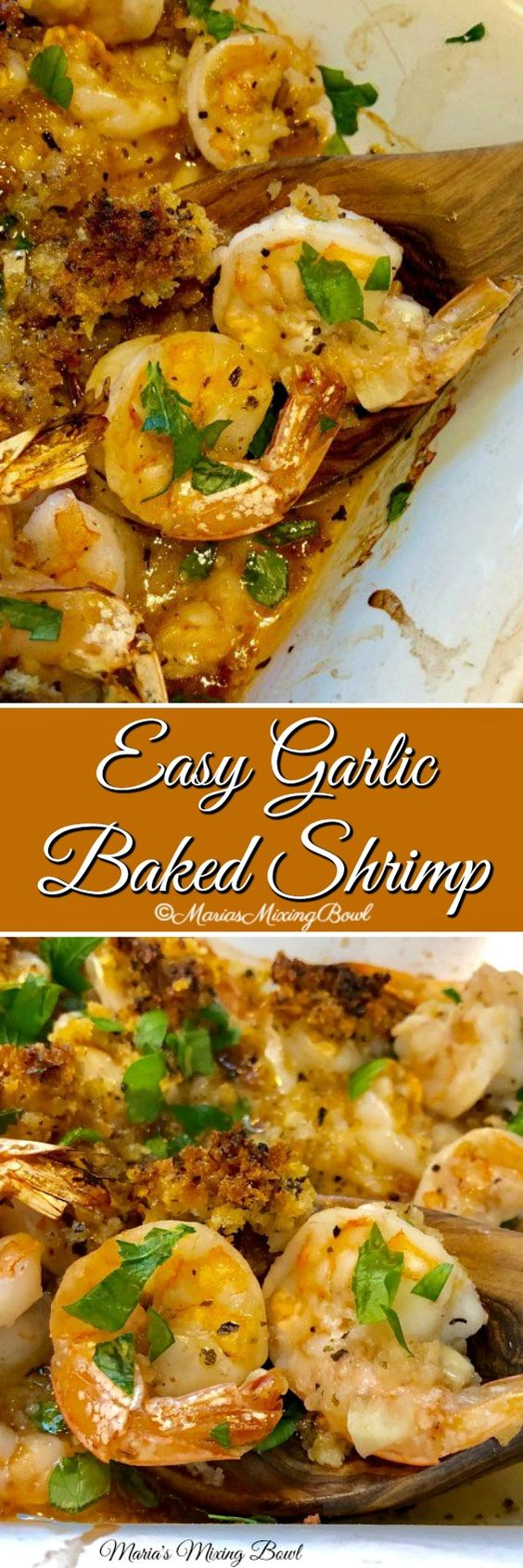 Easy Garlic Baked Shrimp - You will love this delicious garlicky baked shrimp. Full of flavor ,simple to make and always a huge hit. It has become a family favorite.