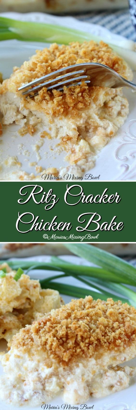 Ritz Cracker Chicken Bake - Tender, juicy chicken is topped with buttery crackers and a few other goodies.  This baked chicken dish your whole family  is sure to love.