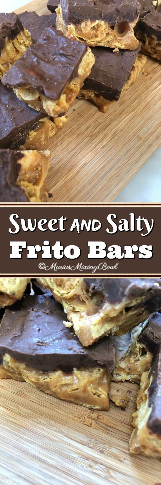 Sweet and Salty Frito Bars - Looking for that perfect sweet and salty treat? Here it is! Sweet, crunchy, salty, peanut butter and chocolate. How can you go wrong?!