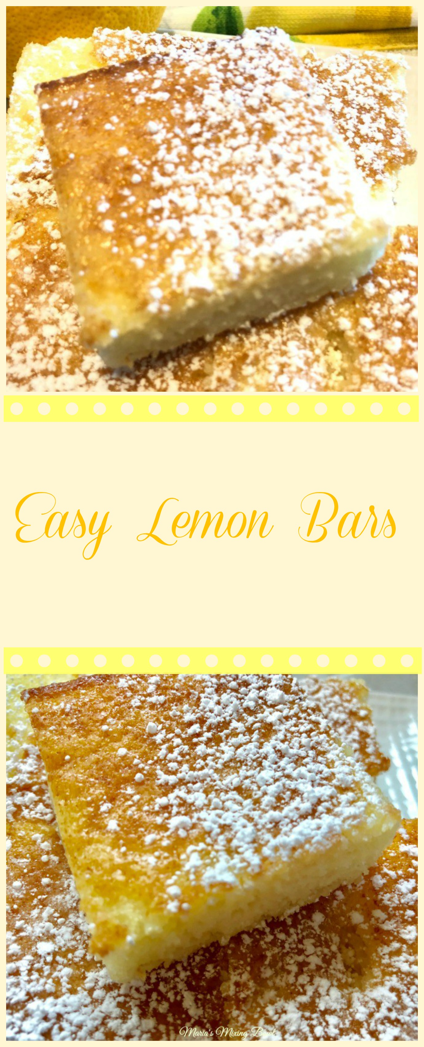 Easy Lemon Bars Recipe is lip smacking good! Best part it only takes 2 ingredients to make! Oh happy day because they go fast so we always make a double batch.