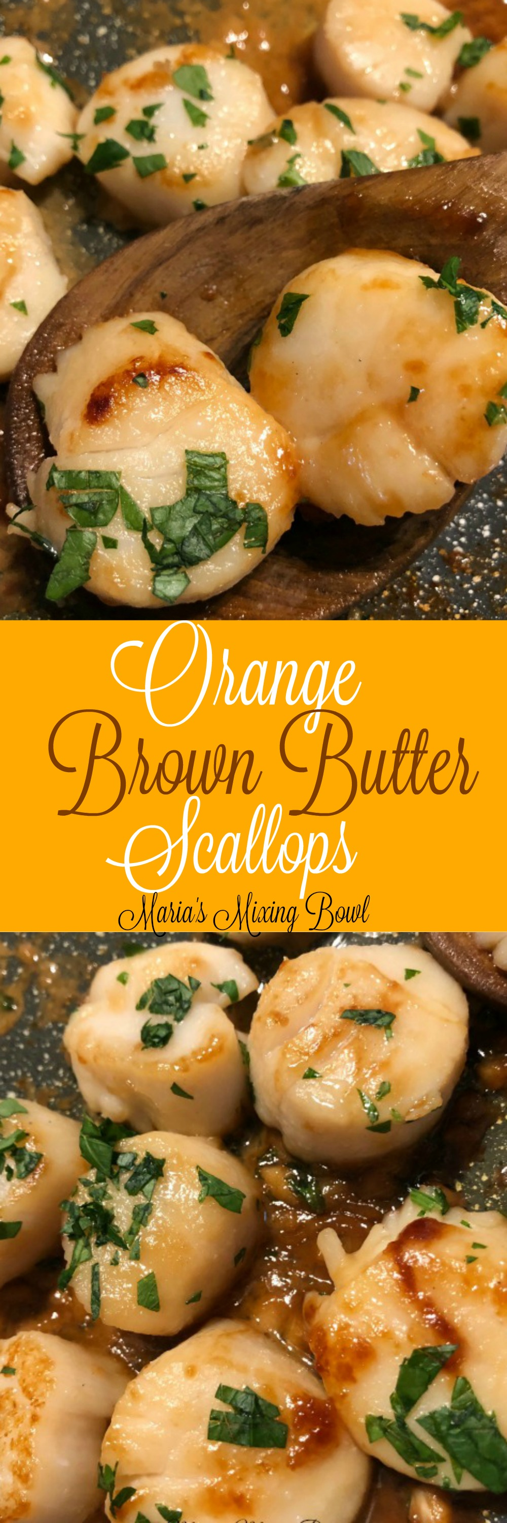 Orange Brown Butter Scallops Recipe- Seared Scallops with Orange Brown Butter  Sauce is easy to cook but also the perfect special occasion dinner. #orange #scallops #brown #butter #seafood #delicious #easy #companydinner #weeknightmeal