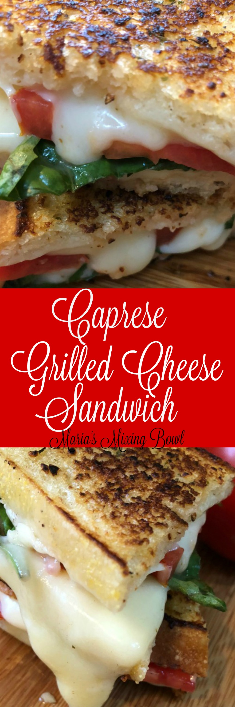 Caprese Grilled Cheese Recipe - One of my favorite summer side dishes between two slices of hearty bread grilled golden brown. Fresh garden tomatoes, mozzarella cheese and fresh basil! Makes for the BEST grilled cheese ever!