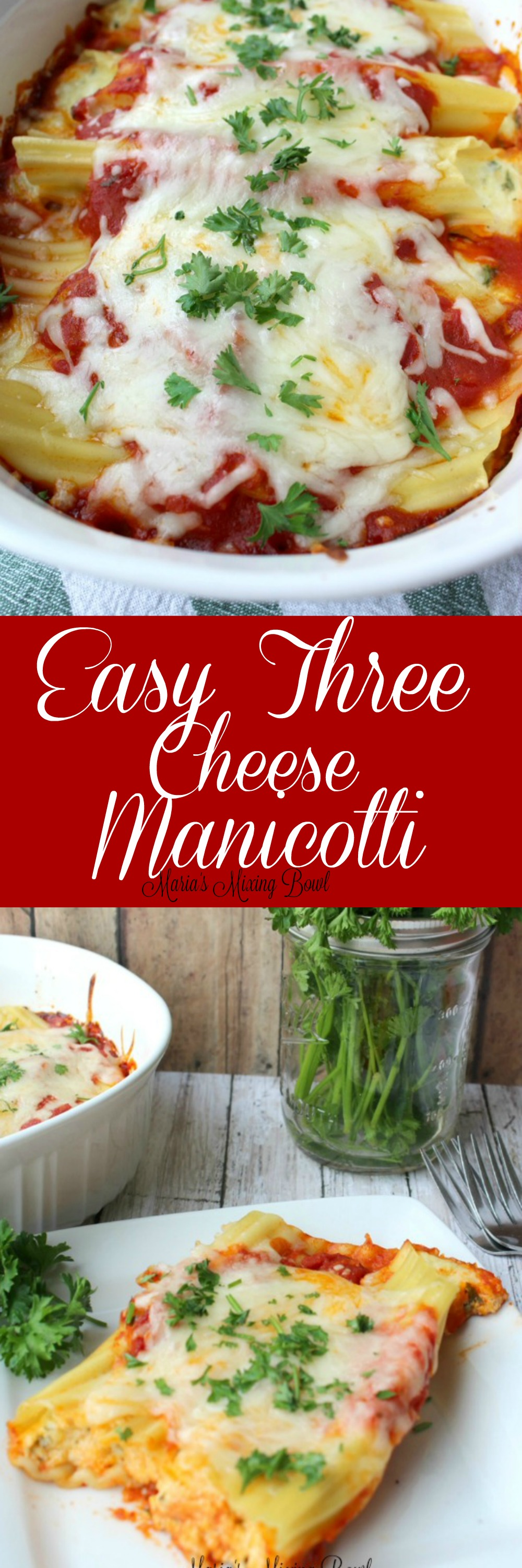 Easy Three Cheese Manicotti Recipe - This Easy Three Cheese Manicotti is a delicious combination of ricotta, mozzarella, and parmesan, this dish makes a perfect weeknight meal yet is fancy enough for a company dinner.