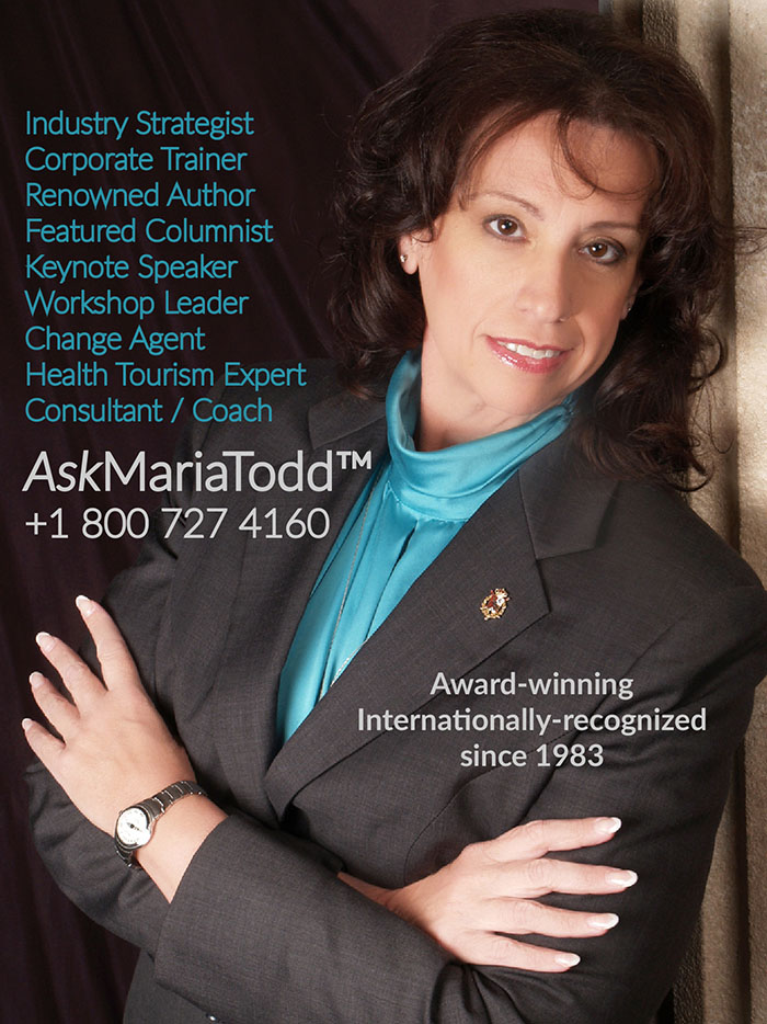 vertical format Image of maria todd listing the consulting and speaking services she provides to healthcare business owners and managers for medical tourism startup