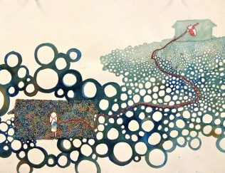 """Home is where..."" Watercolor and Embroidery Thread, 2013, 12 x 26"