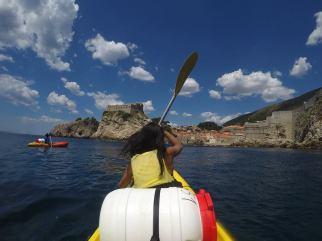 Dubronik, Croatia - kayaking towads the King's Landing