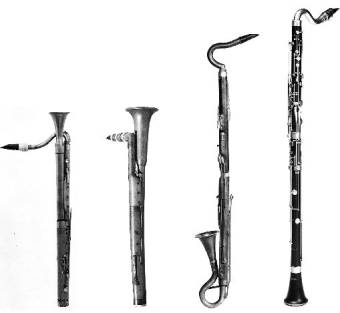 Vintage Bass Clarinets (from left to right): (1) by Heinrich Grenser, Dresden, 1793; (2) American, probably made in Hartford, Connecticut, circa 1815; (3) in B, by A. Nechwalsky, Vienna, mid-19th century; (4) in A, by Wilhelm Heckel, Biebrich, 20th century.