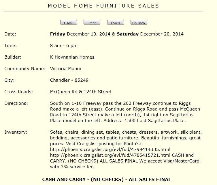 Model Home Furniture Sale This Weekend Fri 1219 Amp Sat 1220 In Chandler Brian Petersheim