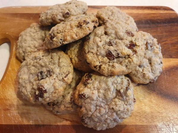 Stack of Homemade oat raising cookies chewy v4 Marie Makes