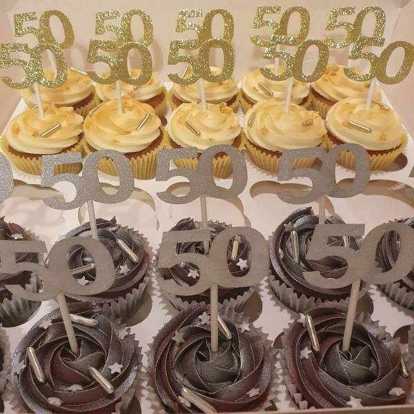 Gold and Silver Celebration Cupcakes Delivered Milton Keynes